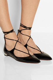 Christy patent-leather point-toe flats