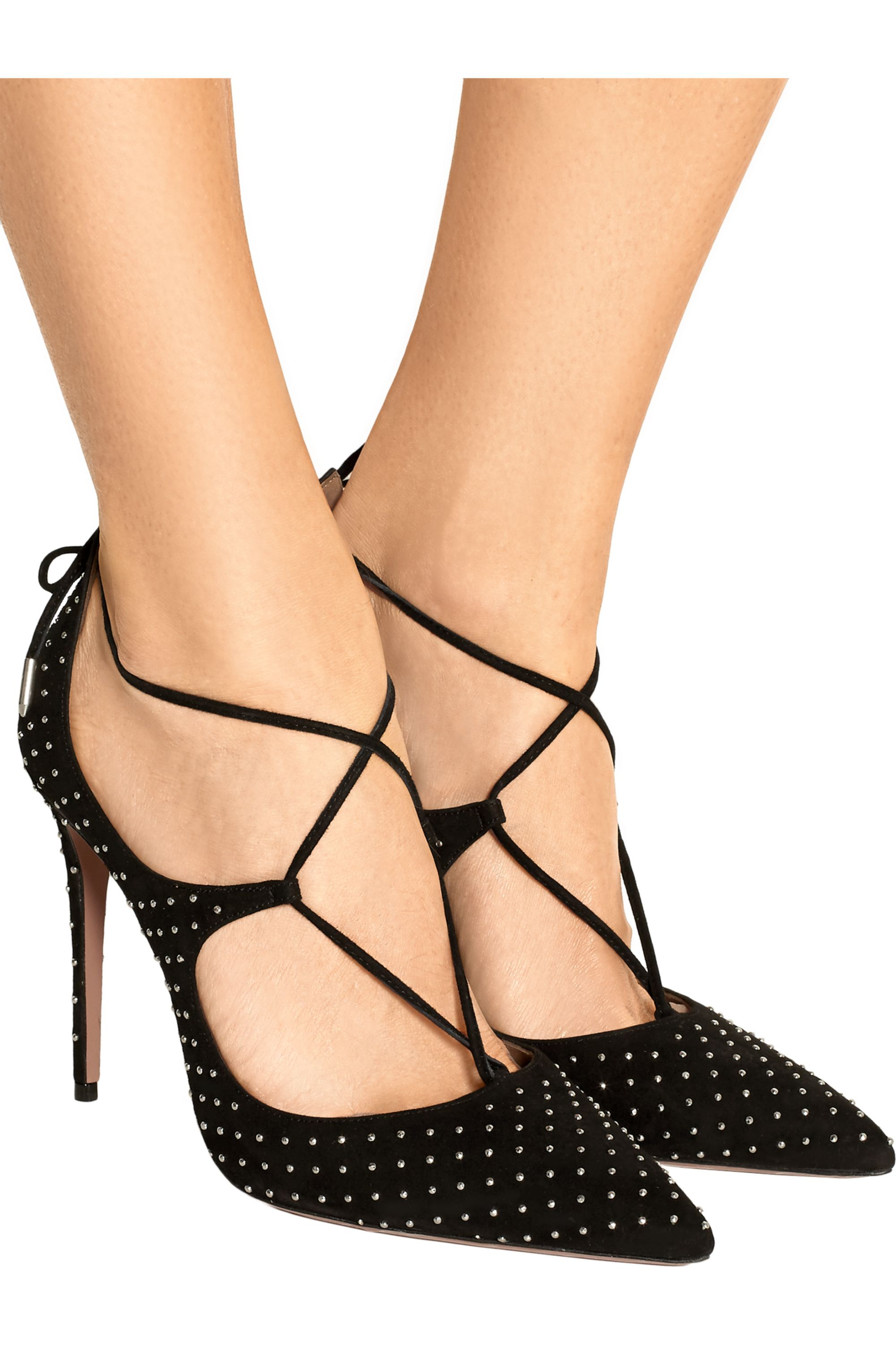 Aquazzura Christy studded suede pumps