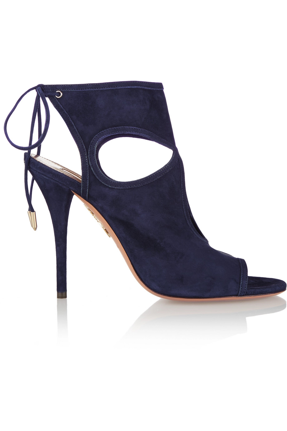 Aquazzura Sexy Thing Cutout Suede Sandals, Navy, Women's US Size: 6.5, Size: 37