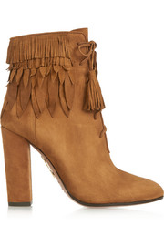 Aquazzura Woodstock fringed suede ankle boots