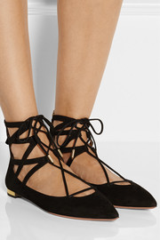 Belgravia lace-up suede point-toe flats