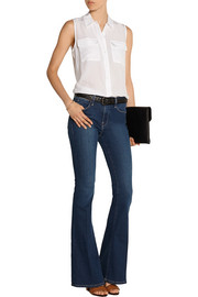 Slim Signature washed-silk top