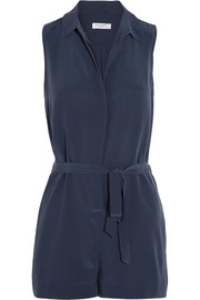 Earl washed-silk playsuit