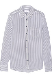 Brett striped silk-crepe shirt