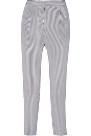 Soren striped washed-silk tapered pants