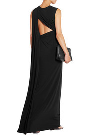 Draped cutout stretch-crepe gown