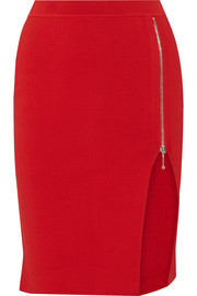 Zip-detailed stretch-knit pencil skirt