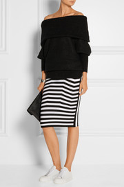 Stretch cotton-blend pencil skirt