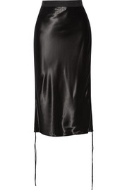 Grosgrain-trimmed satin skirt