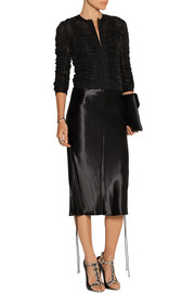 Ruched stretch-tulle jacket
