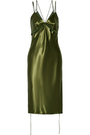 Grosgrain-trimmed satin midi dress