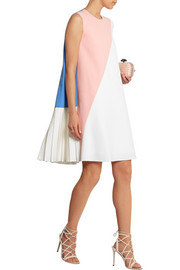 Color-block pleated wool-blend crepe dress
