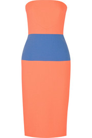 Roksanda Strapless neon wool-crepe dress