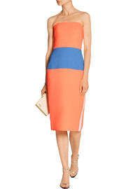 Strapless neon wool-crepe dress