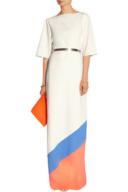 Belted color-block crepe gown