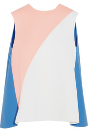 Color-block wool-crepe top