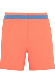 Color-block wool-crepe shorts