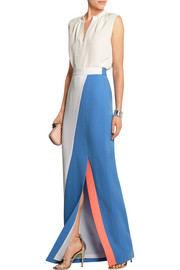Color-block wool-crepe maxi skirt