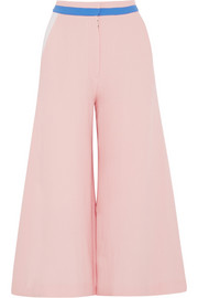Color-block wool-crepe culottes