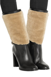 Burberry Shoes & Accessories Shearling-paneled leather boots