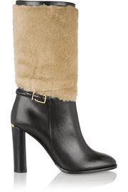 Shearling-paneled leather boots