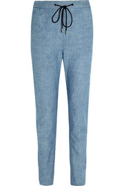 Cotton-chambray tapered pants