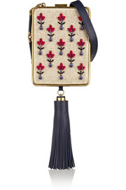 Tory Burch Adele embellished canvas, resin and leather clutch
