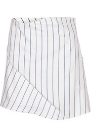 Striped cotton-piqué skirt