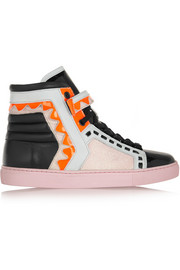 Riko glitter-finished leather high-top sneakers