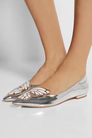 Sophia Webster Bibi Butterfly mirrored-leather point-toe flats