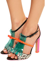 Verity patent-leather, polka-dot calf hair and vinyl sandals