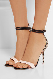 Nicole patent-trimmed printed leather sandals