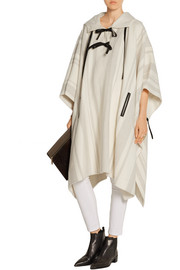 Leather-trimmed wool-blend poncho