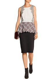 3.1 Phillip Lim Lace and silk crepe de chine peplum top