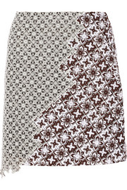 Asymmetric patchwork lace skirt