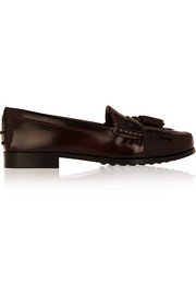 Tasseled glossed-leather loafers
