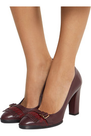 Fringed leather pumps