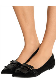 Fringed suede point-toe flats
