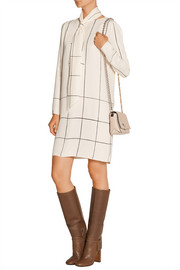 Tory Burch Checked pussy-bow silk-crepe dress