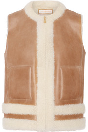 Shearling-trimmed leather vest