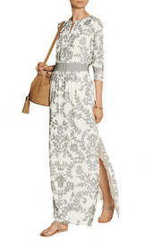 Flocked silk-georgette maxi dress