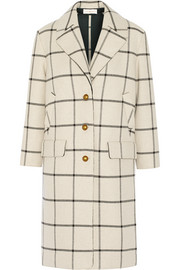 Checked woven coat