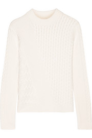 Textured-knit cotton-blend sweater