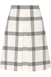 Checked stretch-cotton poplin skirt