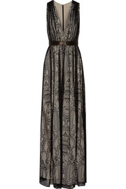 Alice + Olivia Sybil leather-trimmed lace gown