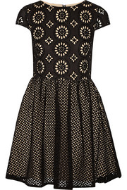 Alice + Olivia Sonny embellished broderie anglaise cotton mini dress