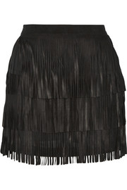 Lavana fringed suede mini skirt