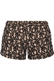 Embellished guipure lace shorts