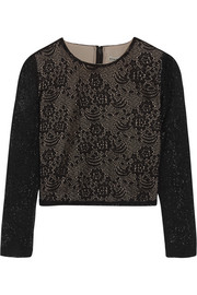 Alice + Olivia Bernie crocheted cropped top