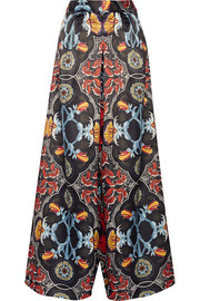 Printed duchesse-satin wide-leg pants